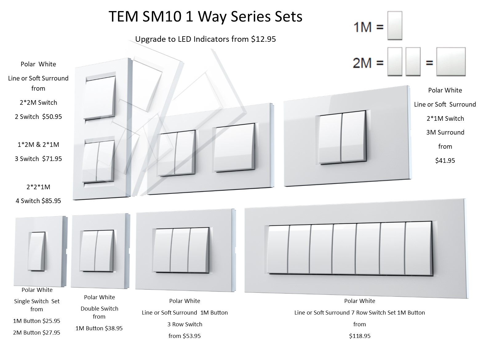 Tem 1 Way Series Sets 4 Push Button Switch Sm10 Are Easily Upgradable With 28 Surrounds Colour Led Indicator Options Available